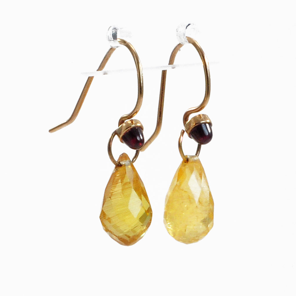 Yellow Tourmaline and Garnet 2.5 ct 11.39mm Handcrafted 14K Gemstone Earrings
