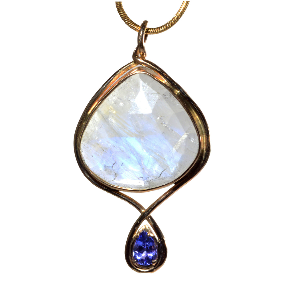 Moonstone 10.41ct Faceted Gemstone with .43ct Tanzanite 14K Handcrafted Pendant