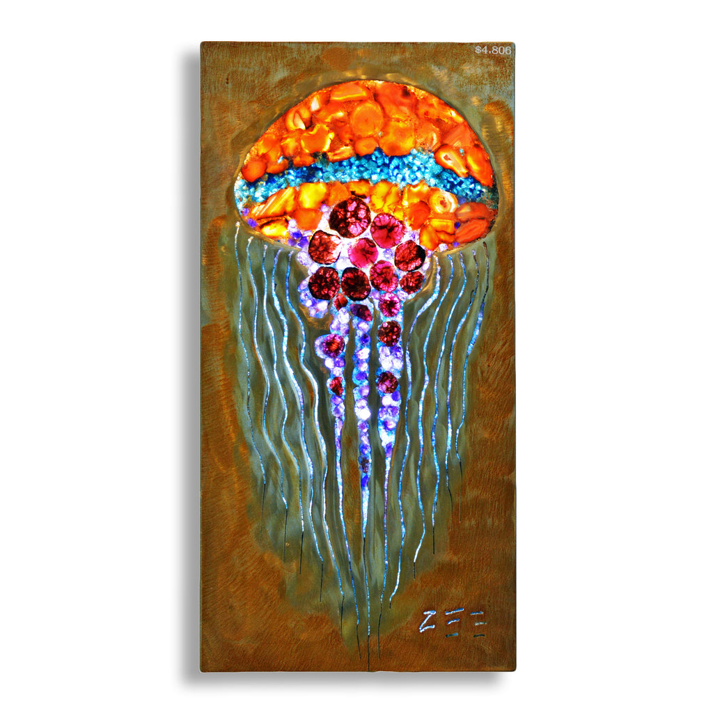 Gemstone Carnelian, Garnet, Amethyst, and Apatite Jellyfish Illuminated Light Panel