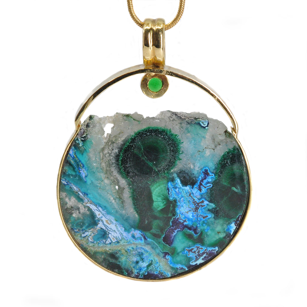 Gem Silica 1.38 inch 52.3 carats with Malachite and Tsavorite Accent Stone 18K Handcrafted Gemstone Pendant
