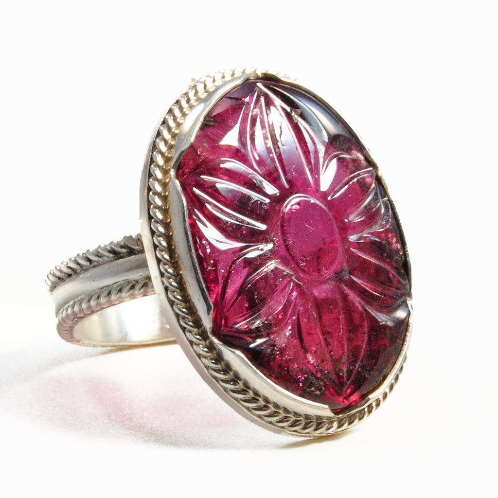 Rubelite Tourmaline 12.82ct Carved Flower Handcrafted Sterling Silver Gemstone Ring