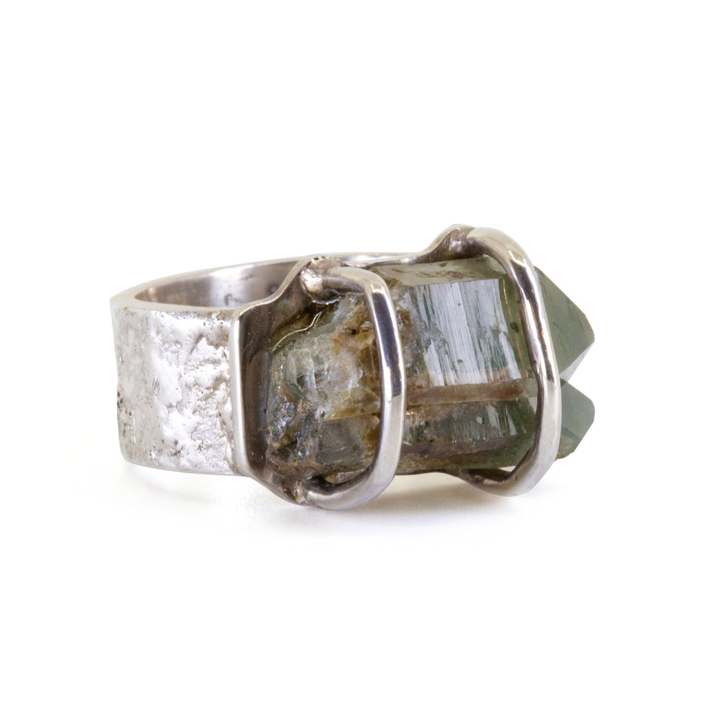 Chlorite in Quartz 12.34 carat Natural Crystal Handcrafted Sterling Silver Ring