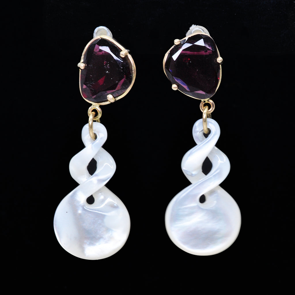 Garnet 15.54 mm 10.31 Carats with Mother of Pearl 14K Handcrafted Earrings