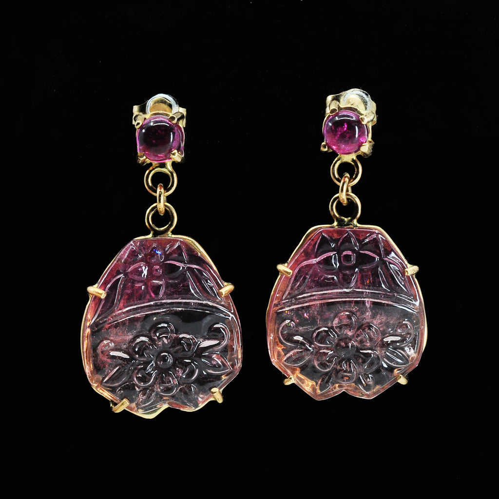 Pink Tourmaline 17.78 mm 18.64 carats Floral Carved 14K Handcrafted Gemstone Earrings