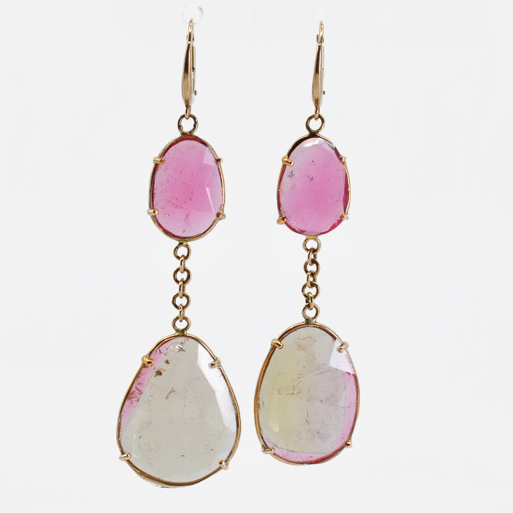Pink and Green Tourmaline 21.44 mm 20.69 carats Rosecut 14K Handcrafted Gemstone Earrings