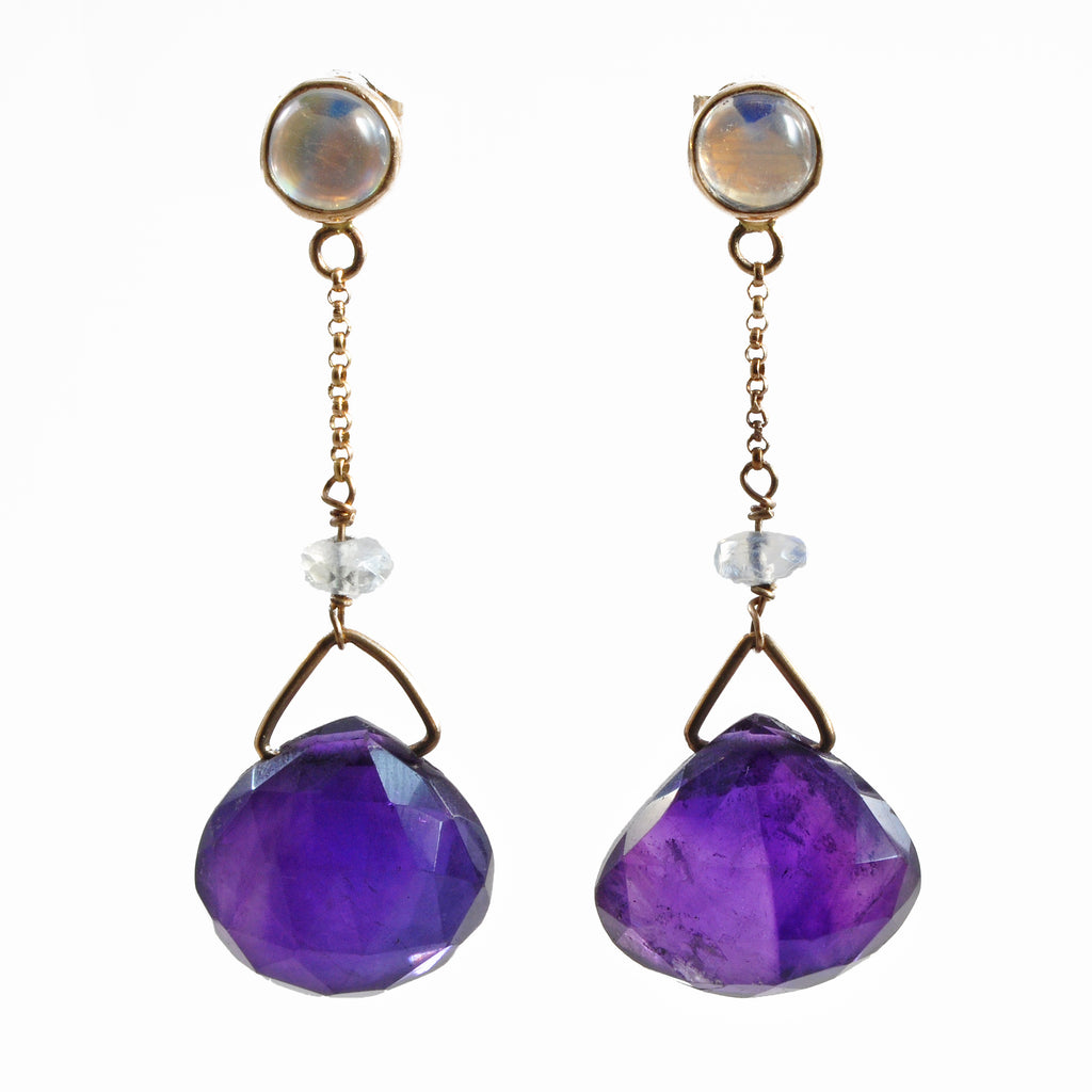 Amethyst 16.0 mm 27.46 carats with Moonstone 14K Handcrafted Gemstone Earrings