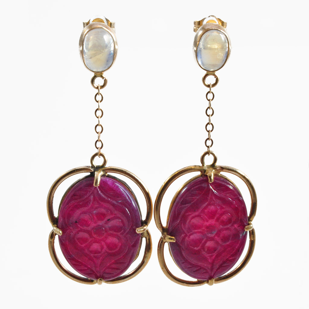 Ruby 20.32 mm 15.38 carats Floral Carving with Moonstone 14K Handcrafted Gemstone Earrings