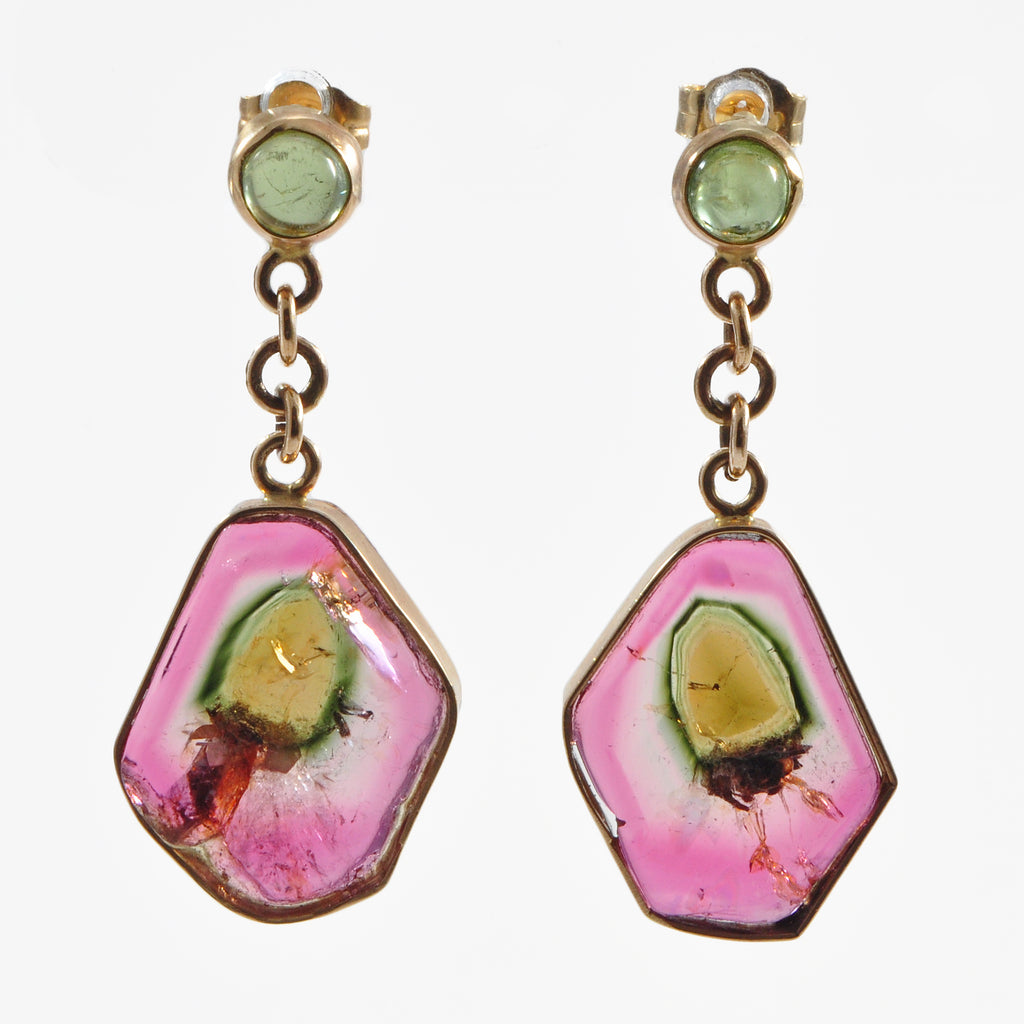 Watermelon Tourmaline 18.96 mm 18.25 carats Crystal Slice 14K Handcrafted Gemstone Earrings