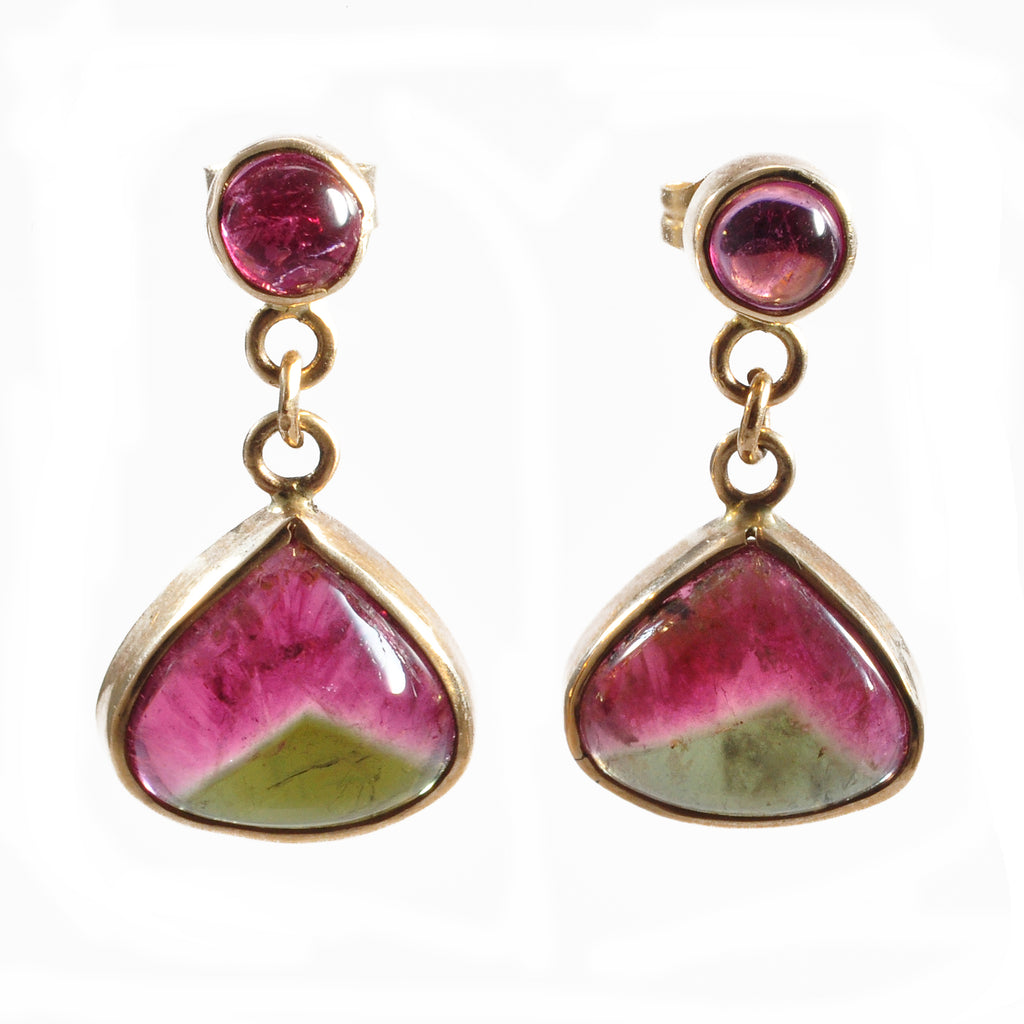 Pink and Green Tourmaline 11.28 mm 8.89 carats Drop Cabochon 14K Handcrafted Gemstone Earrings