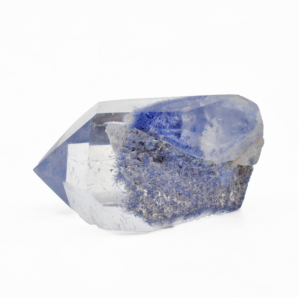 Dumortierite in Quartz 1.81 inch 33.2 grams Partial Polished Natural Crystal Point