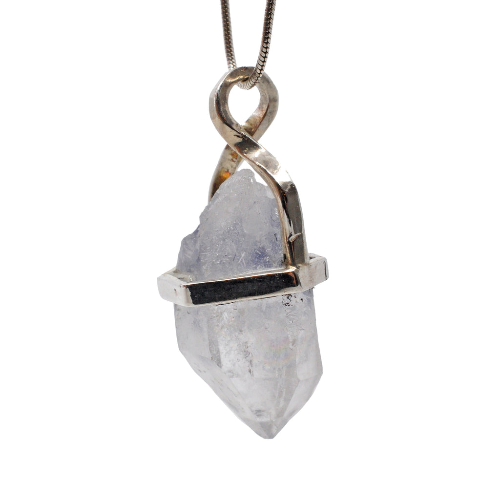 Dumortierite in Quartz 22.57 mm 16.78 carats Natural Crystal Sterling Silver Handcrafted Twist Pendant
