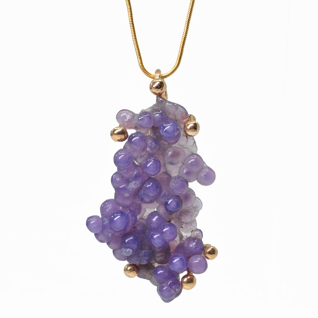 "Botryoidal ""Grape Agate"" 1.72 inch 33.87 carats Polished Freeform 14K Handcrafted Gemstone Pendant"