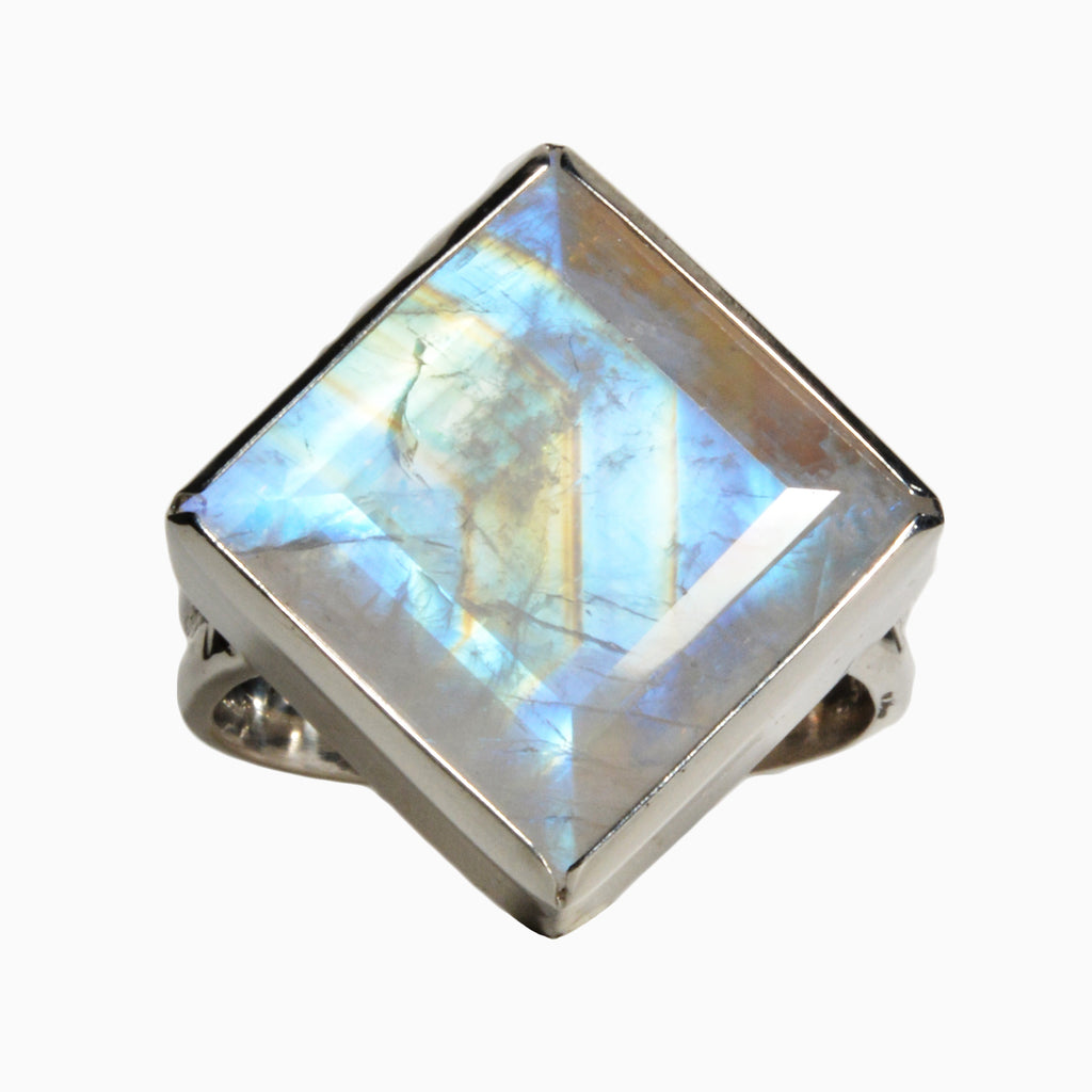 Faceted Rainbow Moonstone 16.25 ct Handcrafted Sterling Silver Ring