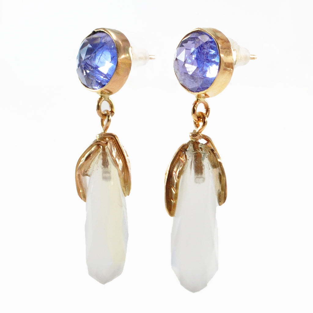 Moonstone Briolette & Tanzanite Faceted Gemstone 14k Gold Handcrafted Earring Pair