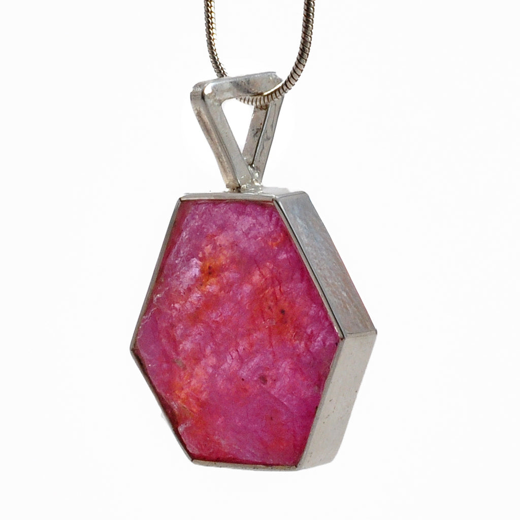 Ruby 19.99 mm 15.07 ct Natural Crystal Hexagonal Sterling Silver Handcrafted Pendant