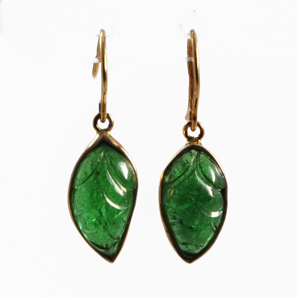 Tsavorite Garnet Floral Carving 14K Gold Handcrafted Earring Pair