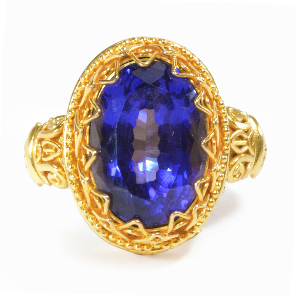 Tanzanite 13.81 mm 7.25 carat Faceted Gem 22K Handcrafted Ring