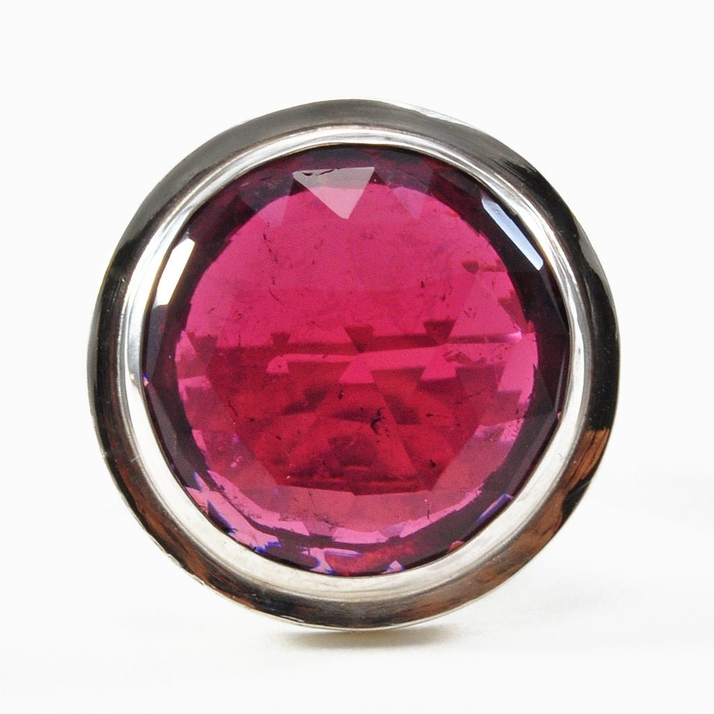Rubelite Tourmaline Rose-Cut Faceted 11.71ct Sterling Silver Handcrafted Ring