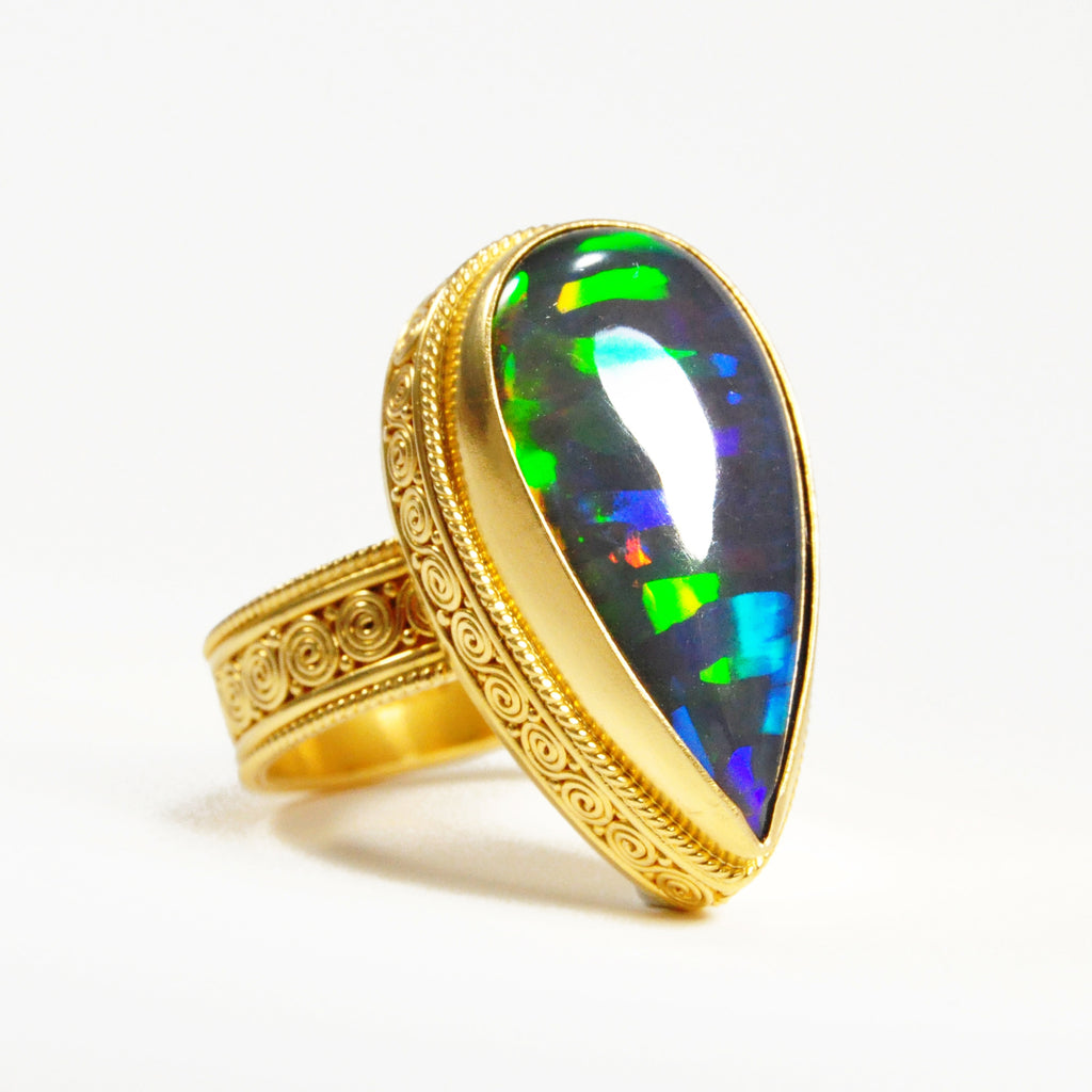Black Ethiopian Opal 3.27 carat 23.29 mm Teardrop Cabochon 22K Handcrafted Gemstone Ring