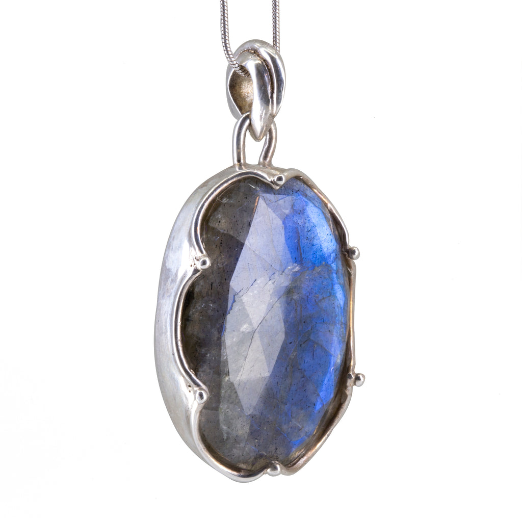 Labradorite Rose Cut 34.86 carat Handcrafted Sterling Silver Crown Bezel Pendant
