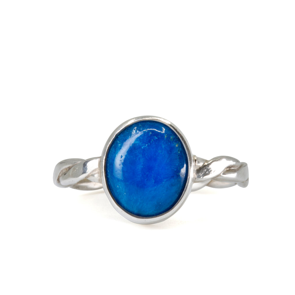 Cavansite 3.1ct Cabochon Handcrafted Sterling Silver Ring