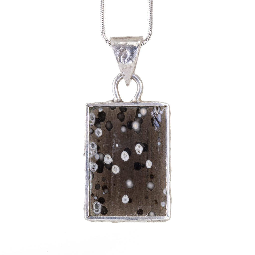Snowflake Obsidian 8.32 carat Cabochon Handcrafted Sterling Silver Pendant