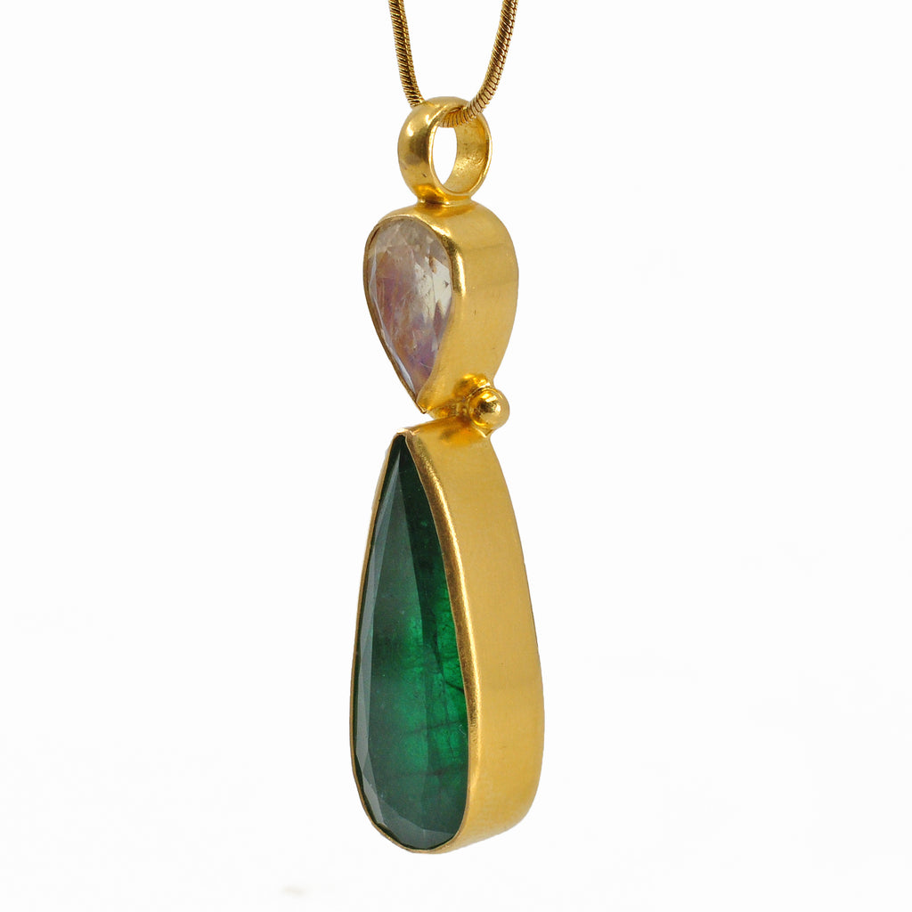 Exquisite Emerald with Moonstone 1.87 inch Faceted Teardrop 22K Handcrafted Gemstone Pendant