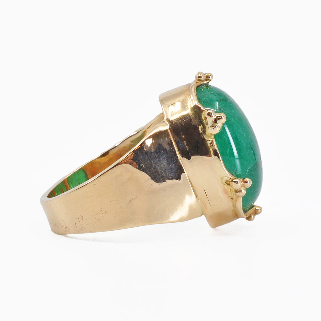 Emerald Cabochon 14k Handcrafted Gemstone Ring
