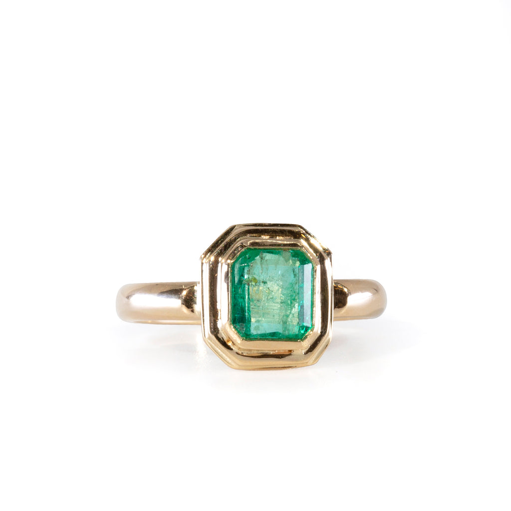 Emerald .99 carat Handcrafted 14k Ring