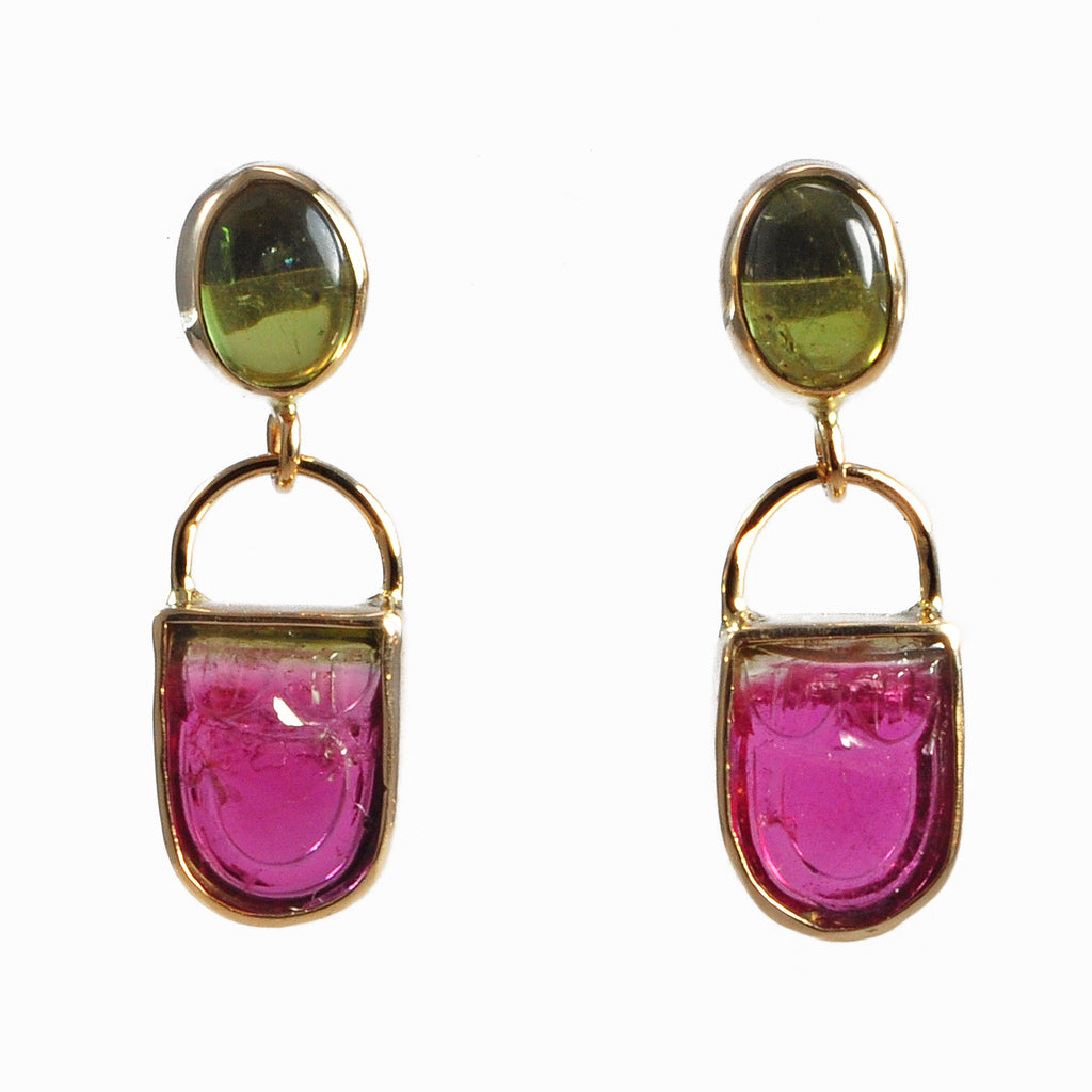 Bi-Color Tourmaline 6.02 ct with Green Tourmaline 2.68 ct Handcrafted 14K Carved Gemstone Earrings