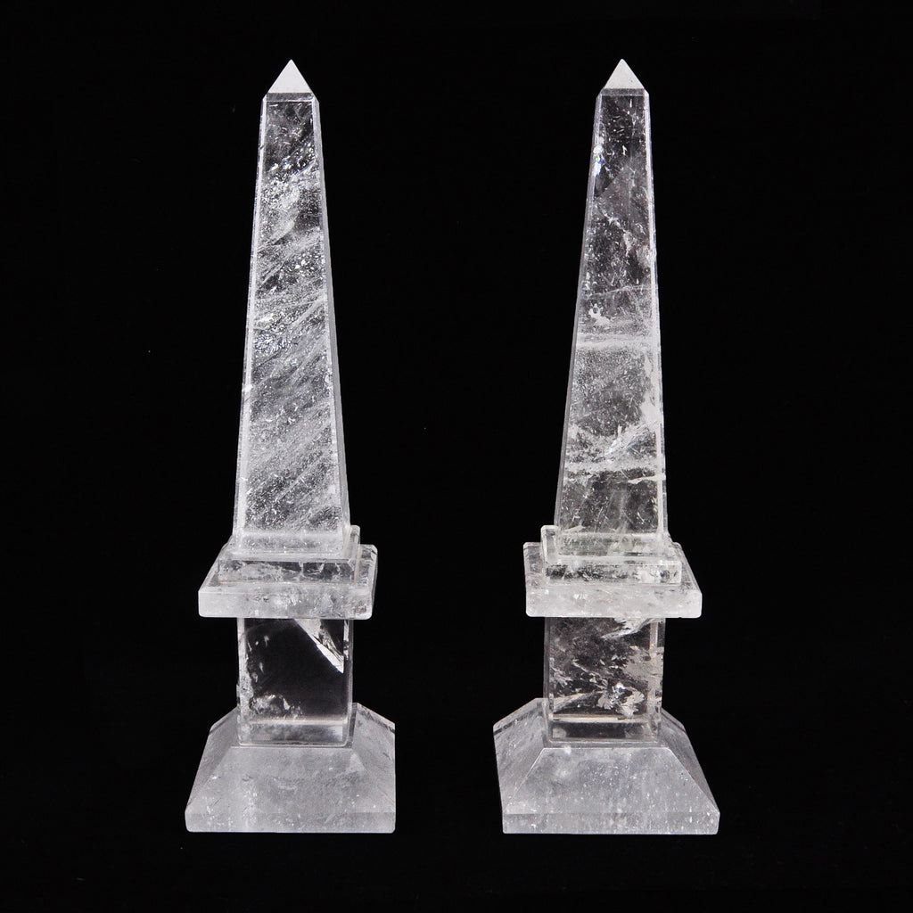 Quarts 9.75 inch Natural Crystal Polished Obelisk Pair - Brazil