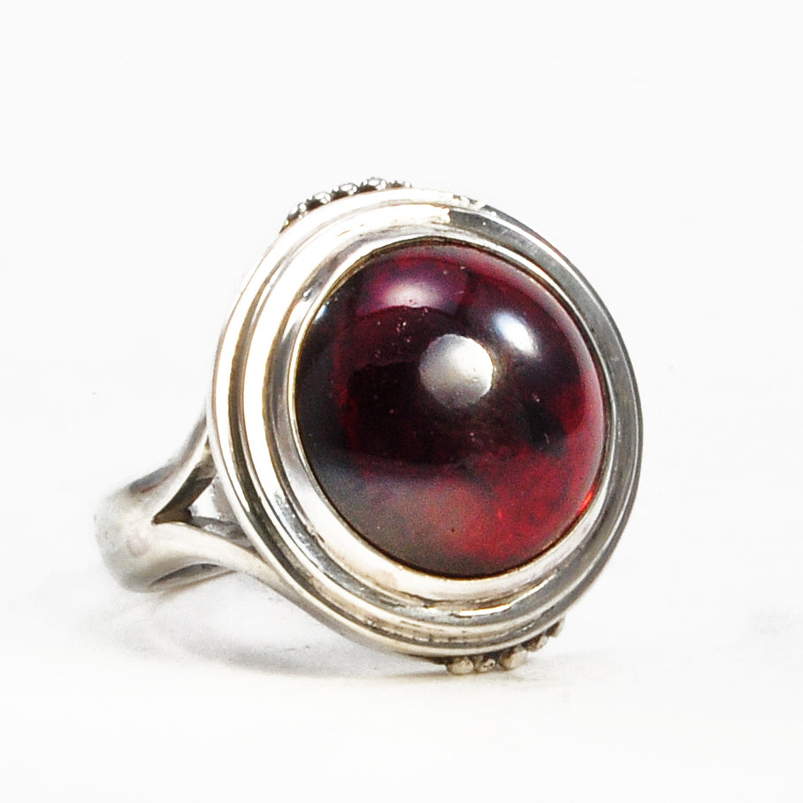 Garnet 14.44 ct 15.90 mm Cabochon Sterling Silver Handcrafted Gemstone Ring