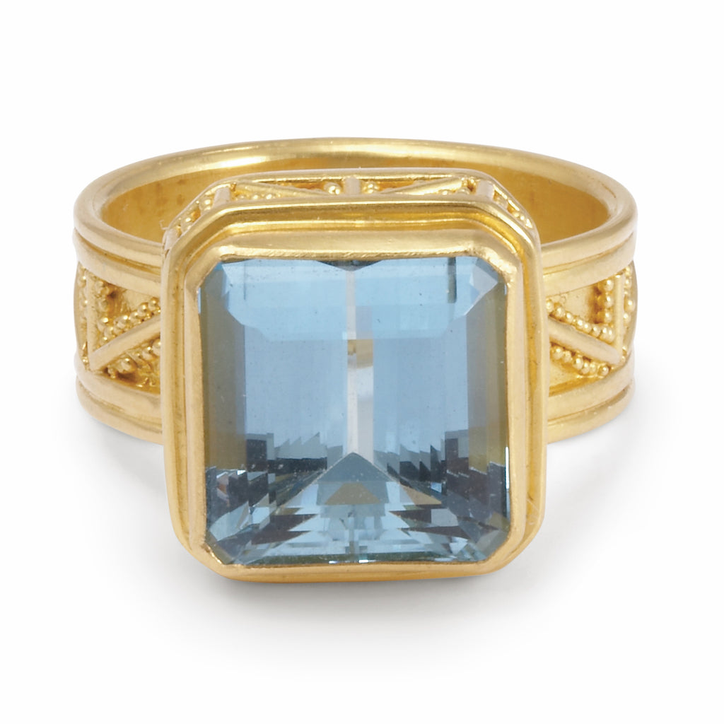 Aquamarine 7.3ct Faceted 22k Handcrafted Gemstone Ring