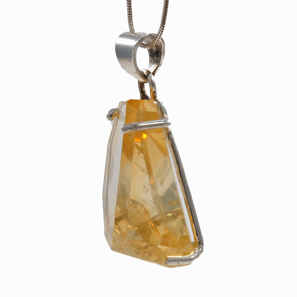 Citrine 25.68 mm 28.74 ct Geometric Freeform Sterling Silver Handcrafted Gemstone Pendant
