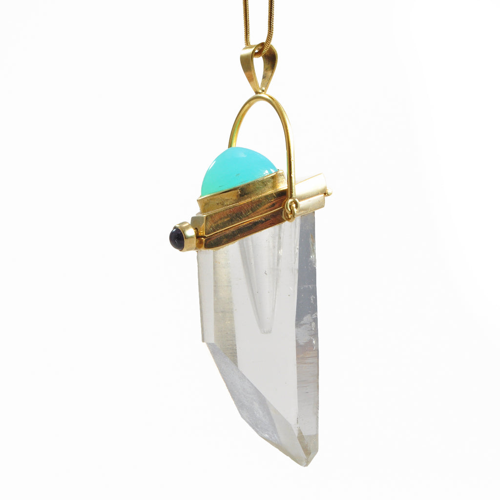 Blue Opal Cabochon with Quartz 47.92 mm Natural Crystal 18K Handcrafted Vessel Pendant