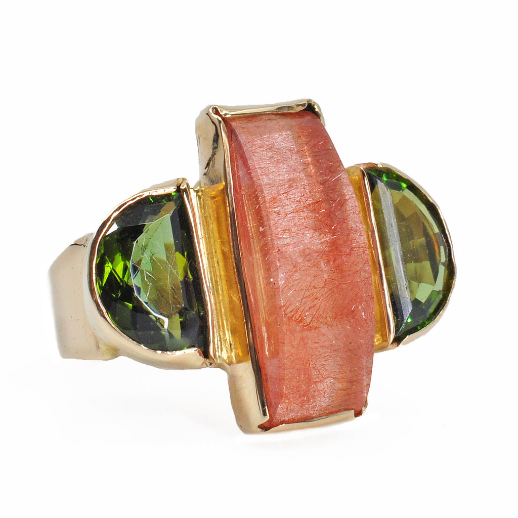 Strawberry Quartz 20.16 mm 7.76 carat with Green Tourmaline 14K Handcrafted Gemstone Ring
