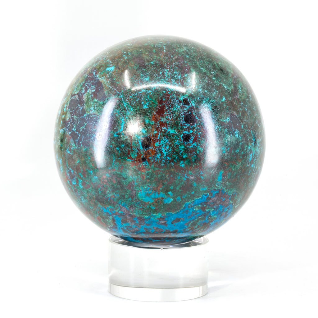 "Chrysocolla 3.1"" 1.96 lb Polished Crystal Sphere - Peru"