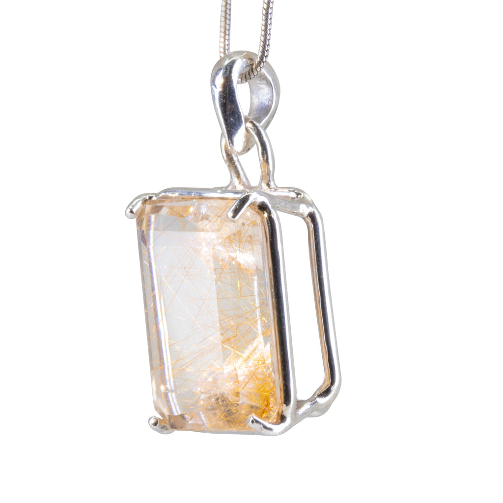 Rutilated Quartz 13.6 carat Faceted Gem Handcrafted Sterling Silver Pendant