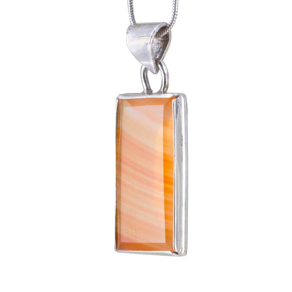 Carnelian 10.32 carat Rectangle Handcrafted Sterling Silver Pendant