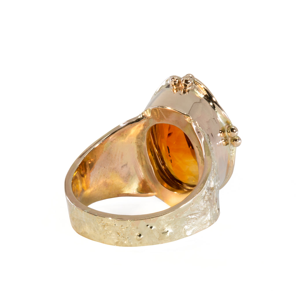 Madiera Citrine 7.52 carat Faceted 14k Handcrafted Ring
