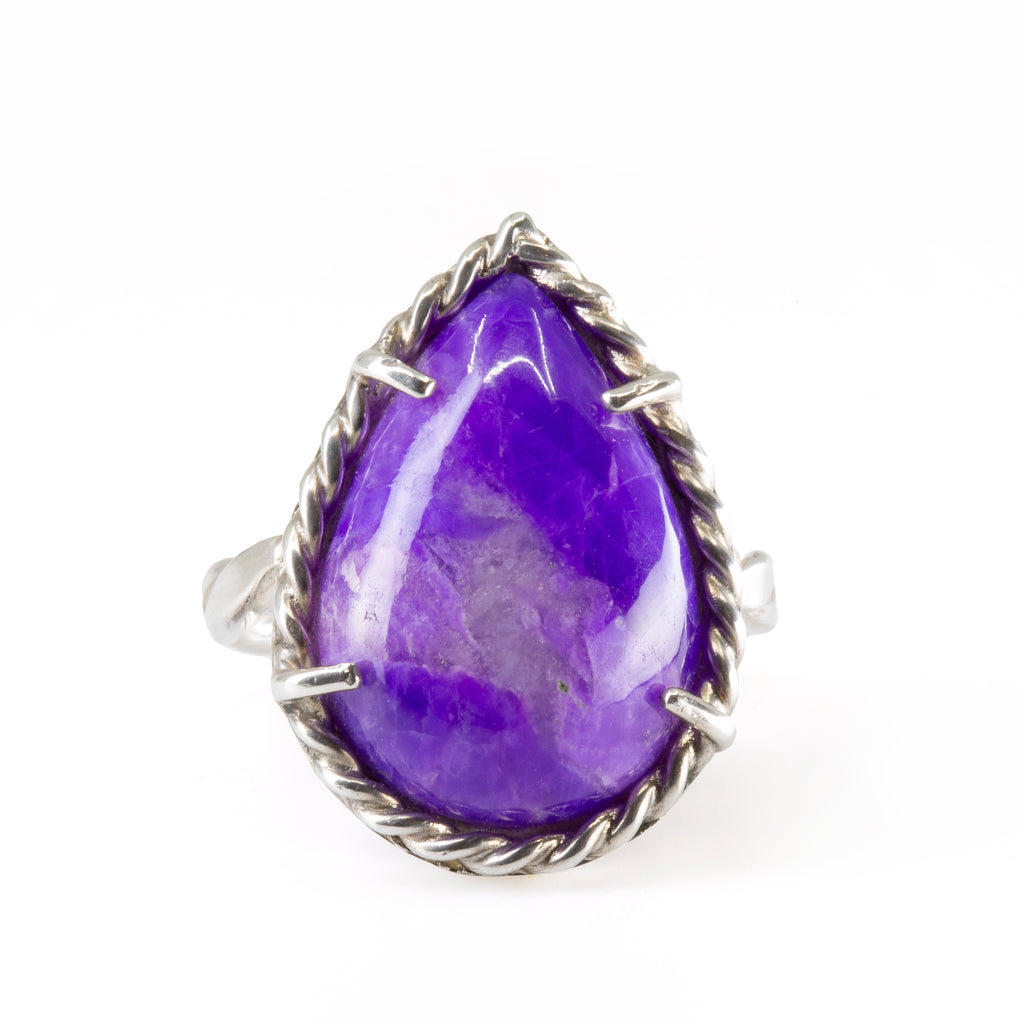 Sugilite 4.76 ct Pear Shape Cabochon Handcrafted Sterling Silver Ring