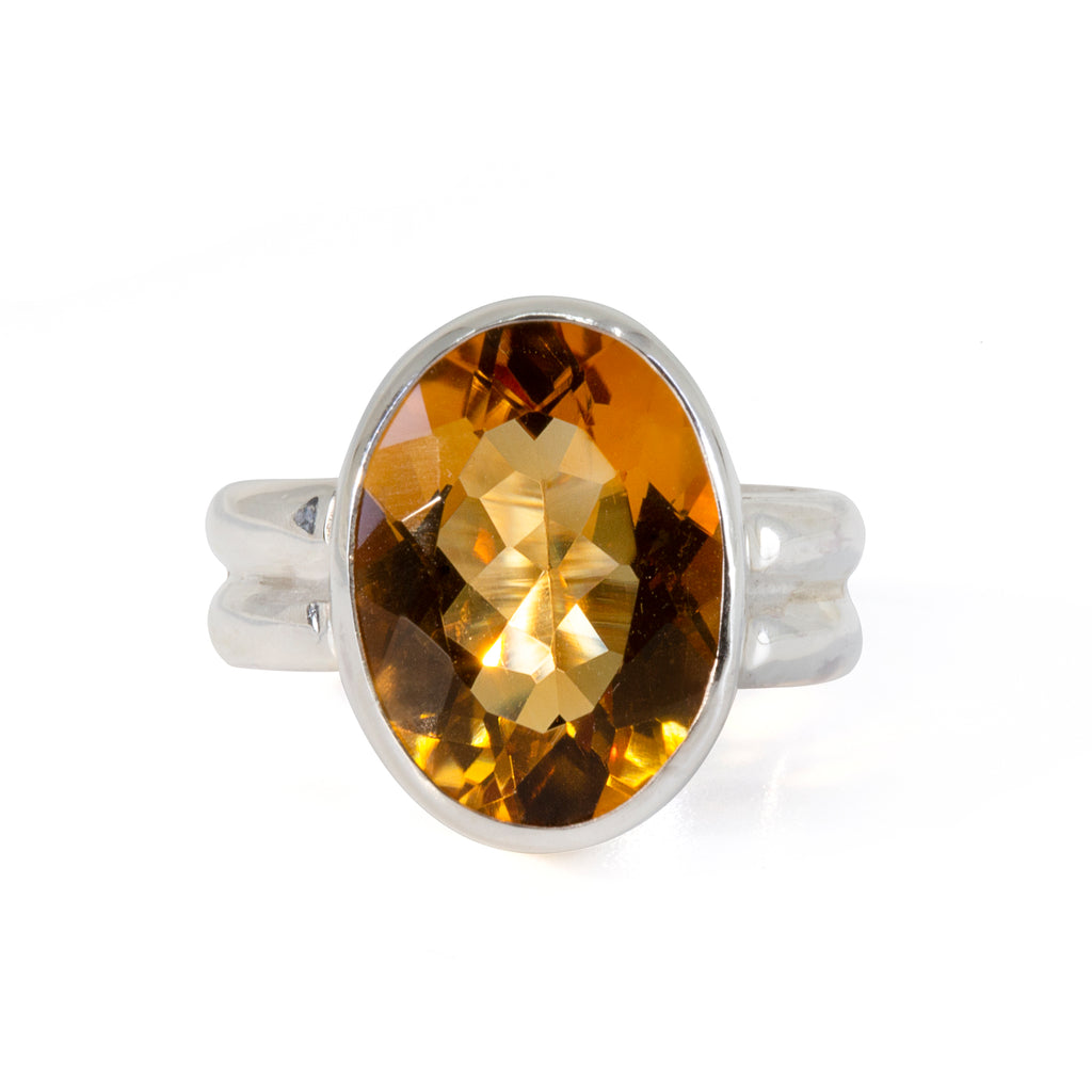 Citrine 8 carat Faceted Sterling Silver Handcrafted Double Band Ring