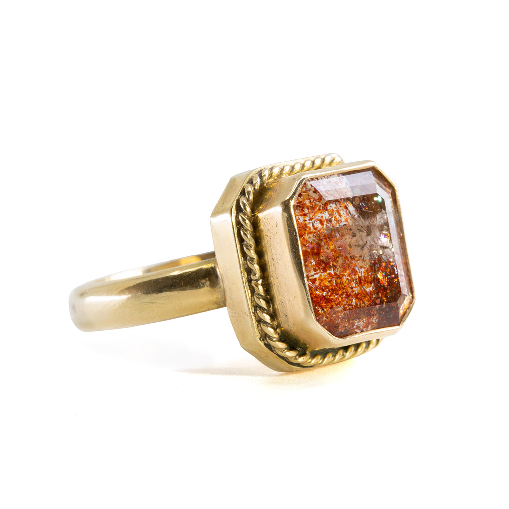 Tanzanian Sunstone 6 carat Handcrafted 14k Faceted Gemstone Ring
