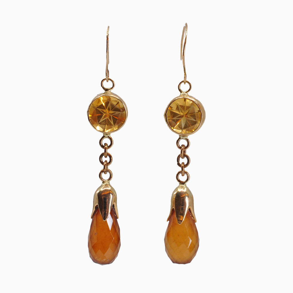 Hessonite Garnet with Citrine 19.0 mm 19.9 carats Faceted 14K Handcrafted Gemstone Earrings