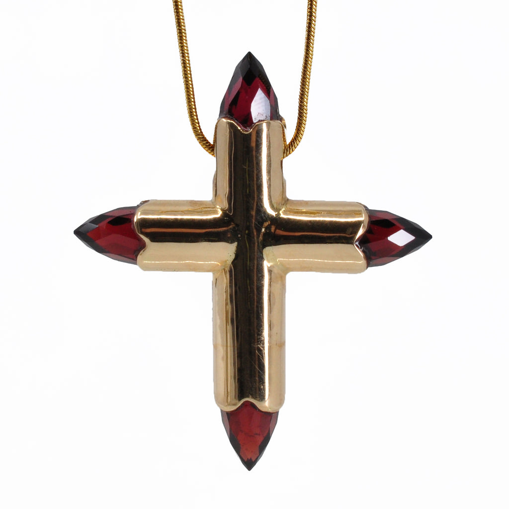 Garnet 1.6 inch 9.77 cts Faceted Bullets 14K Handcrafted Cross Pendant