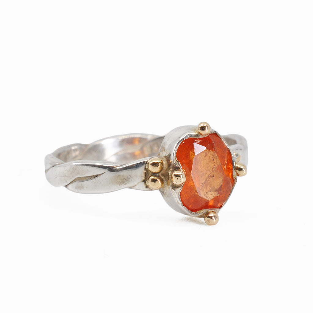 Spessartine Garnet 7.77 mm 1.95 carat Faceted Oval Sterling Silver with 14k Handcrafted Gemstone Ring