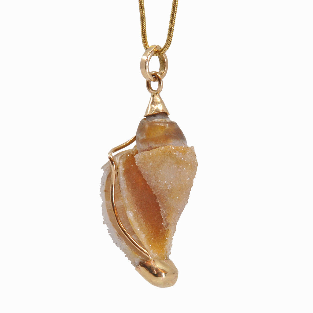 Druzy Chalcedony Shell 32.08 mm 14.5 carats Natural Crystal 14K Handcrafted Gemstone Pendant