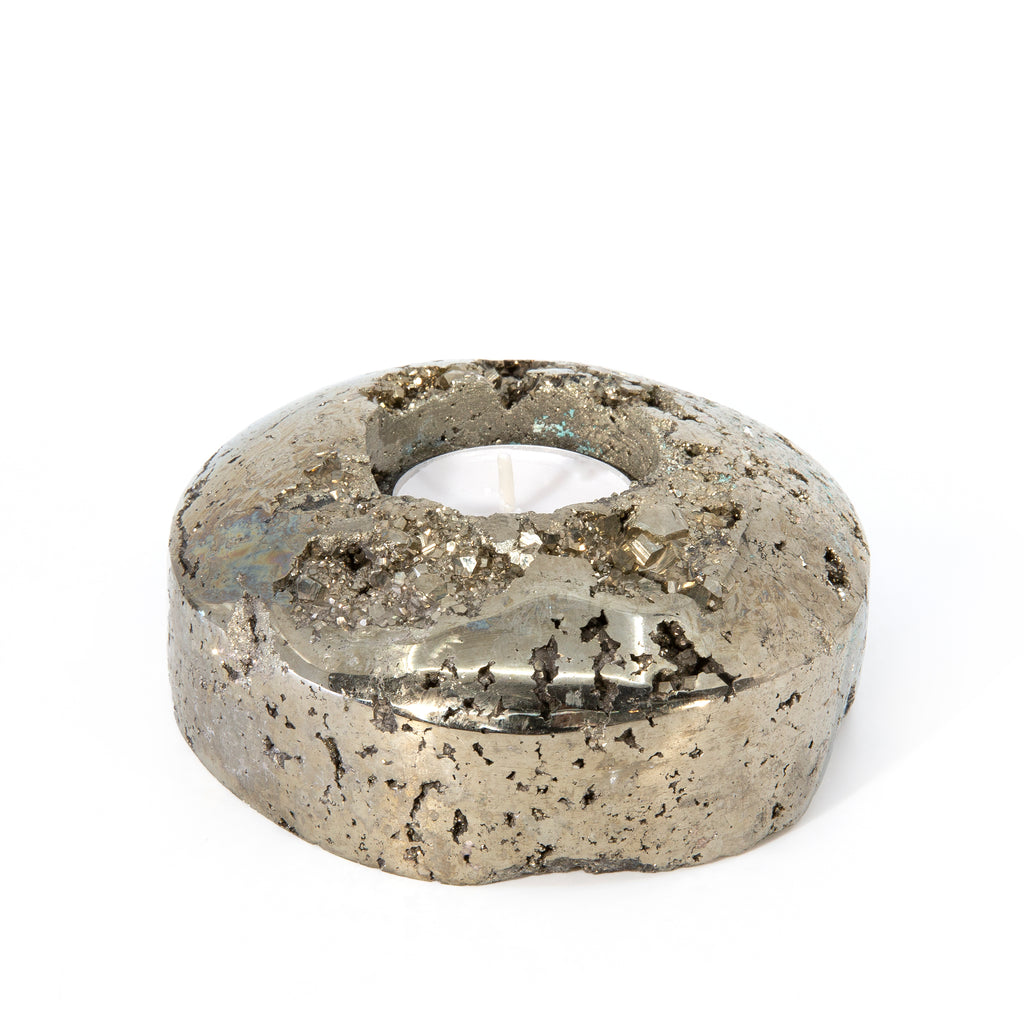 Polished Pyrite Natural Crystal Votive Holder - Peru