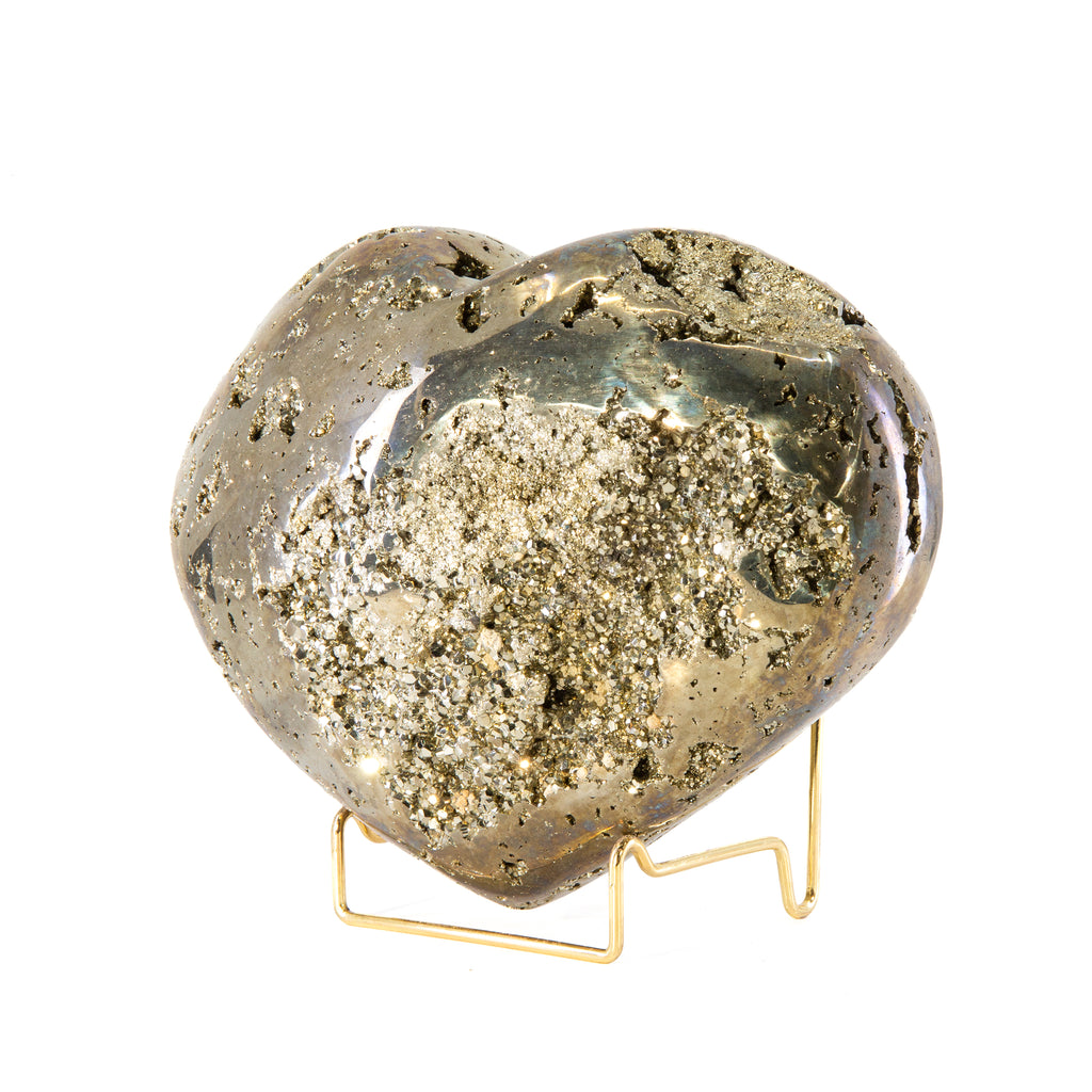 Pyrite 7.5 inch 10.9 lb Partial Polished Crystal Heart