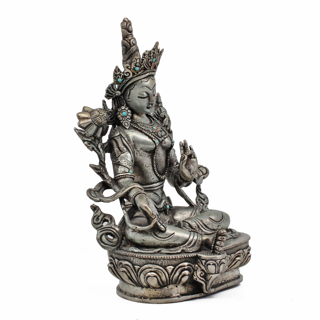 Sterling Silver Green Tara 8.5 in 3.65 lb Statue - Nepal